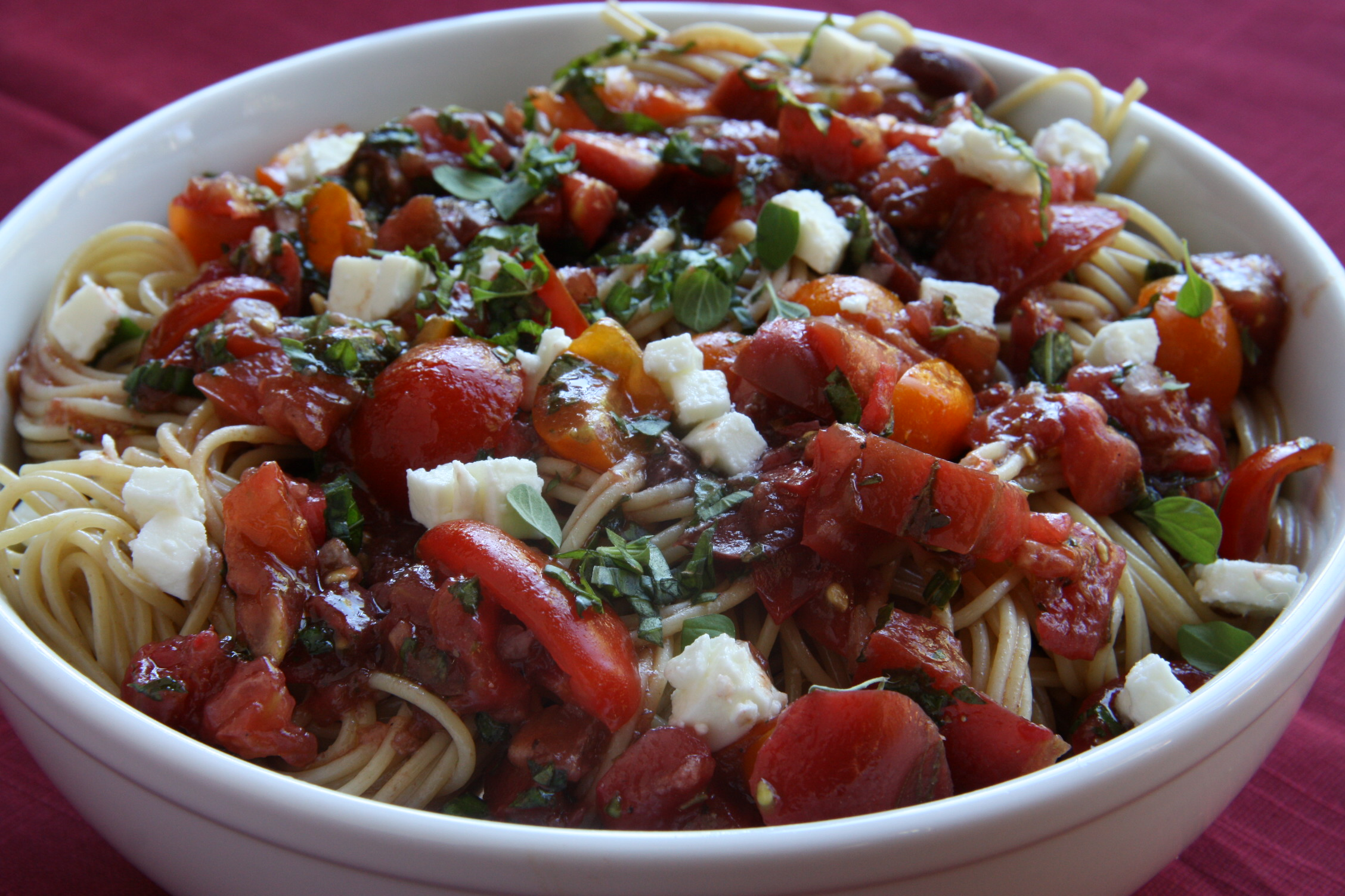 Spaghetti with Tomatoes, Olives, and Feta Cheese - Kristine Kidd ...